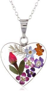 """Sterling Silver Pressed Flower Heart Pendant Necklace, 16"""""""