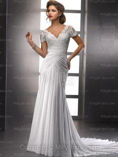 Sheath/Column V-neck Chiffon Chapel Train White Appliques Wedding Dresses at Millybridal.com