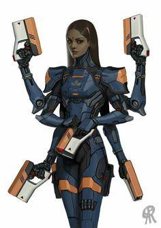 six armed cyborg gunner