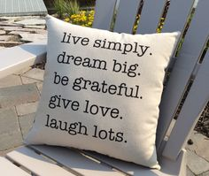 Canvas Pillow, Inspirational Word Pillow, Stenciled Pillow, Home Decor, Throw Pillow, Live Simply, Dream Big, Love, Word Pillow, Pillows by NanaNewHandmade on Etsy https://www.etsy.com/listing/238443330/canvas-pillow-inspirational-word-pillow