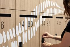 Baayangali integrated Indigenous design for Ausgrid by Lucy Simpson of Gaawaa Miyay in Sydney Australia. Collaboration with GroupGSA. Image by Luc Rémond Office Lockers, Locker Designs, Energy Providers, Wayfinding Signage, Environmental Graphics, Holistic Approach, Built Environment, Pictogram, Design Awards