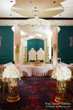 Fully-decked out canopy fit for newlywed royalty.