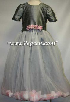 Gray Flower Girl Dresses by Pegeen.com