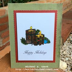 World Of Michael Trent: Holiday Candles & Pine Card with Anthony's Paper Craft stamps