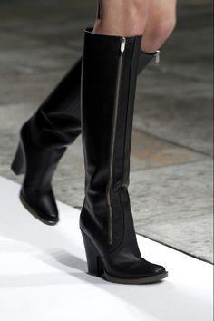 tall black leather boots w/ zipper detail