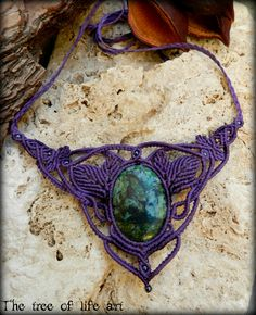 Macrame necklace with Chrysocolla stone