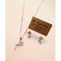 Collana orecchini parure in argento 925 e zirconi con fata trilly