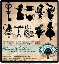 Alice in Wonderland SVG, Clipart, Vectors, Cameo Silhouette, Cricket Explore, svg,ai,eps Cutting File, png by withwildabandon on Etsy https://www.etsy.com/listing/210322213/alice-in-wonderland-svg-clipart-vectors