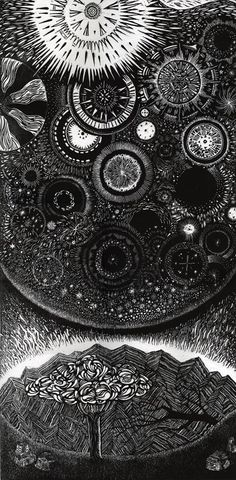 "Love the detail in this. ""Infiniteness"" by Oliver Michael Robertson. ""This image is a picture of the universe. It expresses an inner spiritual space of expansiveness and beauty."" 40in by 20in woodblock printed on Arches. http://www.mynameiso.com"