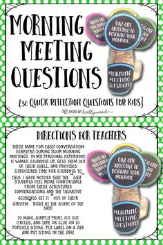 Meeting Questions Morning Meeting Questions are Fun & Quick Ways to Get Students Talking and Building Relationships!Morning Meeting Questions are Fun & Quick Ways to Get Students Talking and Building Relationships! Beginning Of The School Year, New School Year, First Day Of School, School Days, Middle School, High School, Class Meetings, Morning Meetings, Morning Work