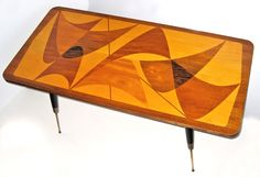 inlay mid century coffee table