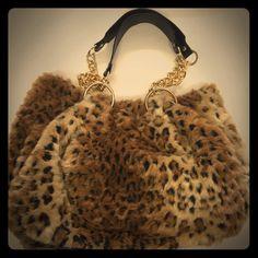 Glenda Gies hand bag Beautiful fuzzy leopard print Glenda Gies handbag with chain straps. Like new. Bags Shoulder Bags
