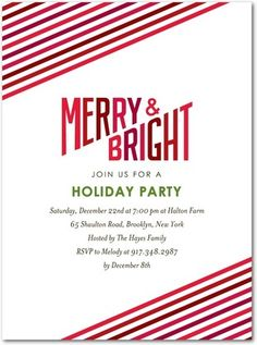 Flat Holiday Party Invitations Lively Hues