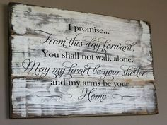 I promise From This Day Forward Engraved Wood Wall Art For Weddings Rustic Wedding Vow Sign Made From Reclaimed Wood – From This Day Forward Wood Sign Love Signs, Diy Signs, Wedding Vows, Wedding Signs, Wedding Ideas, Wedding Quotes, Wedding Rustic, Camo Wedding, Trendy Wedding