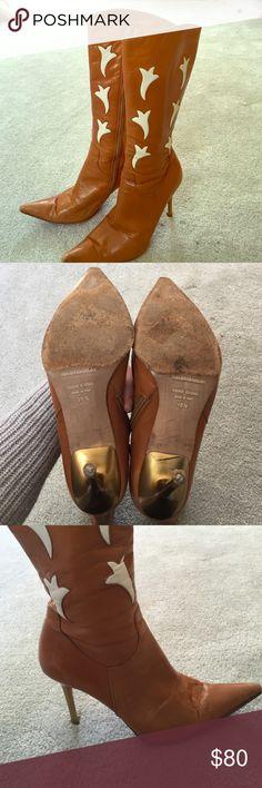 HELEN MARLEN CALF HEIGHT BOOTS Super fun- HELEN MARLEN LEATHER BOOTS.  Gold metal heel measures about 2.5-3 inches.  Great detail.  Small scuffs on toes. helen marlen Shoes