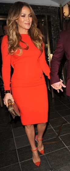 Jennifer Lopez wearing Christian Louboutin Bis Un Bout Pumps in red & a Tom Ford Fall 2012 Longsleeve Dress.
