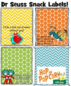 Colorful labels for Teacher Appreciation, Read Across America, Dr Seuss themed parties, classroom treats, etc.  Available in my Etsy shop.    https://www.etsy.com/listing/180891642/dr-seuss-suess-hop-on-popcorn-tag-topper?