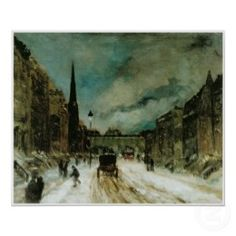 Street Scene with Snow (57th St. NYC) 1902 print