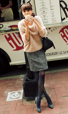 Warm fuzzy sweater dressed up with a tweed skirt & heels. Cute fall/winter look!