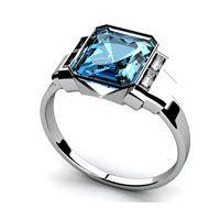 Art Deco Style Aquamarine Engagement Ring