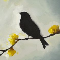 Bird silhouette with Yellow flowers