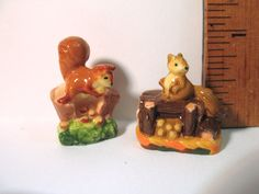 Brown Fox SQUIRREL Family Squirrels - French Feve Feves Porcelain Figurines Doll House Miniatures
