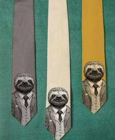 Stylish Sloth Necktie Men's Sloth Tie Groomsmen