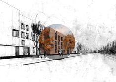 rendering style // Urban Housing Design, Glasgow 2013 // drawn by Chris | http://wonderfulartitecture.lemoncoin.org