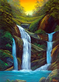 夕焼けの滝