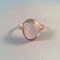 Rose cut translucent Rose Quartz set in lightly oxidized sterling silver