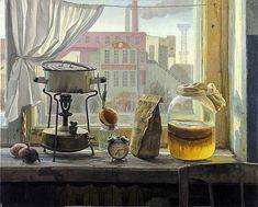 Примус, чайный гриб и вид на Раушскую набережную и ГЭС №1 им. П.Г. Смидовича. Картина Филиппа Кубарева.