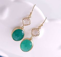 Kelly Green and Gold Dangle Earrings  Green Drop by FiveThirty, $22.00