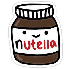 """Nutella Cute"" Stickers by RekiP Cute Food Drawings, Cute Kawaii Drawings, Kawaii Doodles, Cute Doodles, Tumblr Stickers, Cute Stickers, Png Tumblr, Waterproof Stickers, Aesthetic Stickers"