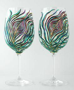 Peacock Wine Glasses--Set of 2 Hand Painted Glasses. $65.00, via Etsy.