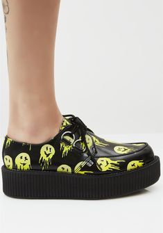 1a9398881cba T.U.K. Smiley Mondo Creepers will have ya feelin  trippy. These black  creepers have thikk