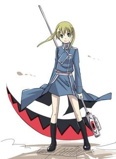 Maka Albaran - Soul Eater. Wait! Is she wearing a military uniform from FMA? That's awesome!!!!!