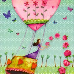 Square card designed by Mila Marquis Art Fantaisiste, Photo Deco, Art Et Illustration, Postcard Design, Jolie Photo, Marquis, Heart Art, Whimsical Art, Birthday Wishes