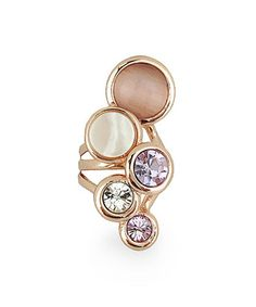 Mother-of-Pearl & Rose Goldtone Abstract Circle Ring