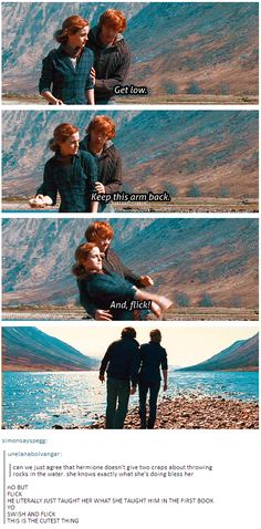 "When we watched this I literally turned to my husband and said, ""She's totally playing dumb so that Ron will put his arms around her to demonstrate how it's done."" Oldest trick in the book... :)"