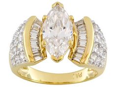 Bella Luce(R) 5.7ctw 18k Yellow Gold Over Sterling Silver Ring