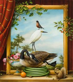 'Your Neighborhood Field Guide' by Kevin Sloan. Find out more about Kevin and see more of his stunning art at wowxwow.com (painting, allegory, allegorical, poetic, animals, birds, nature, wildlife, surreal, surrealism, human condition, symbolism)