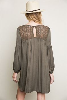 Destination Unknown Long Sleeve Olive Peasant Dress