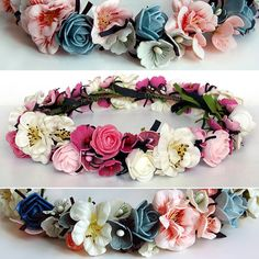 dried flower hair wreath jasmine flower and cute rose three color available flower crown bridal hair accessory floral crown pink blue