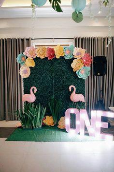 Tropical Flamingo Birthday Party Flamingo Backdrop + Photo Booth from a Tropical Flamingo Birthday P Luau Photo Booths, Birthday Photo Booths, Hawaiian Birthday, Flamingo Birthday, Pink Flamingo Party, 1st Birthday Parties, Birthday Party Decorations, Hawaiin Party Decorations, Hawaiin Party Ideas