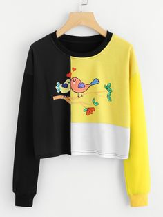 Shop Bird Print Color Block Tee at ROMWE, discover more fashion styles online. Modern Outfits, Chic Outfits, Fashion Outfits, Fashion Styles, Fashion Ideas, Women's Fashion, Basic Tees, Colorblock Dress, Bird Prints