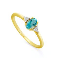 Anel em Ouro 18k Topázio Azul Oval com Diamantes an32693 KT - Joiasgold