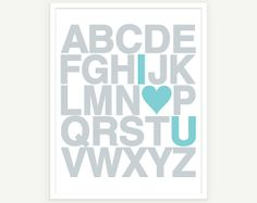 I Love You Alphabet Poster - Nursery #pinparty #heart #baby