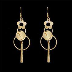 Fashion Women Flower Sequins Long Drop Earrings 18K Gold Plated Wholesale