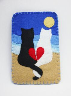 handmade felt cat lovers in the moonlight by MelodyInSunshine, $8.00