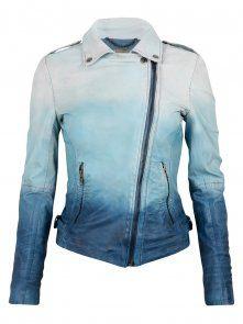 Dip Dyed Ombre Leather Biker Jacket in Ocean Blue